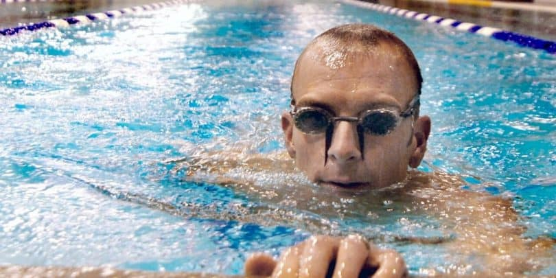 swimmer with anti fog swimming goggles